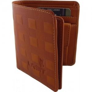 Orbit Men Khaki Genuine Leather, Fabric Wallet