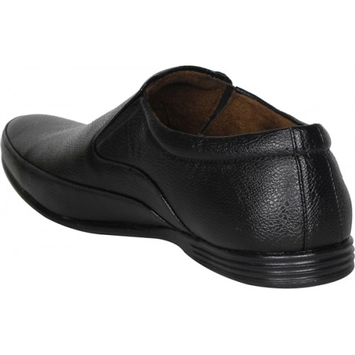 Kraasa Black Synthetic Leather Formal Shoes Slip On For Men