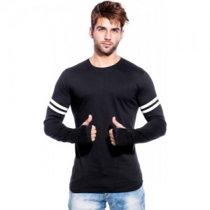Maniac Black Cotton Solid Round Neck T-Shirt
