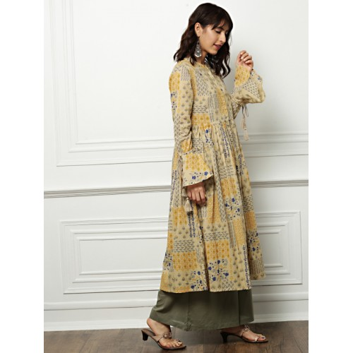 all about you Women Beige Cotton Printed A-Line Kurta