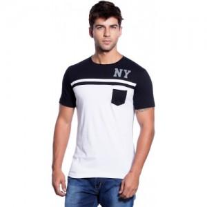 Maniac White & Navy Blue Cotton Solid Round Neck T-Shirt
