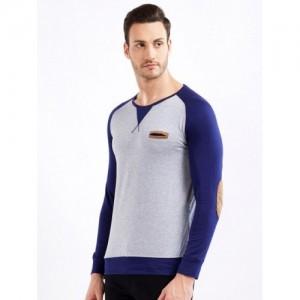 Maniac Gray Cotton Solid Round Neck T-Shirt