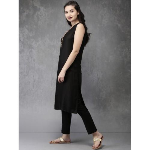 Anouk Women Black & Brown Printed Layered Kurta with Pyjamas