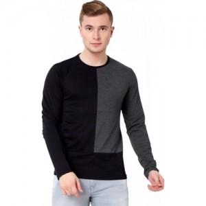 Maniac Black & Gray Cotton Men's Round Neck T-Shirt