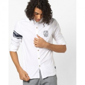 FLYING MACHINE White Cotton Shirt with Button-Down Collar