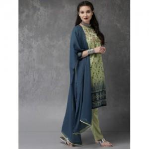 Anouk Women Green & Blue Printed Kurta with Churidar & Dupatta