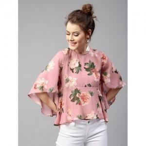 SASSAFRAS Pink Floral Print A-Line Top