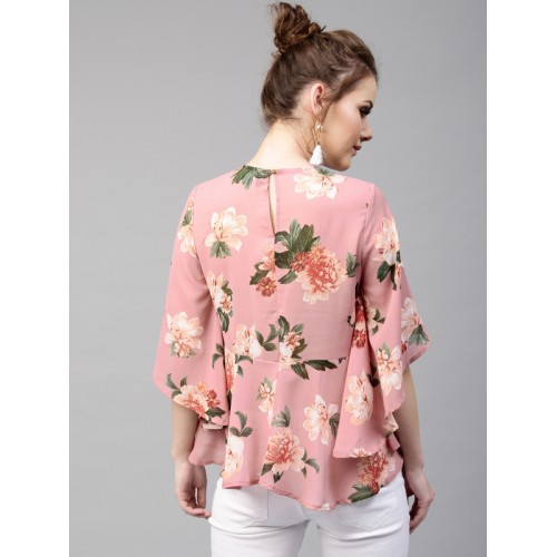 1e3088907d7 Buy SASSAFRAS Pink Floral Print A-Line Top online