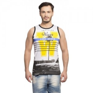 Maniac Cotton Printed Men's Round Neck White Vest