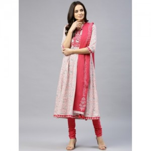Rain & Rainbow Women Pink & White Printed Kurta with Churidar & Dupatta