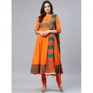 Rain & Rainbow Orange Yoke Design Kurta with Churidar & Dupatta