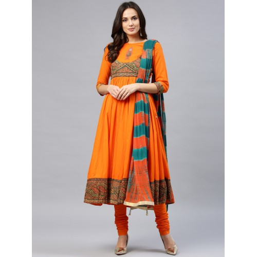 Rain & Rainbow Orange Yoke Design Kurta with Churidar & Dupatta