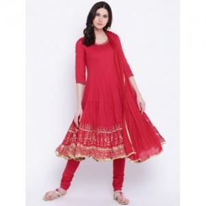 Biba Women Red Printed Kurta with Churidar & Dupatta