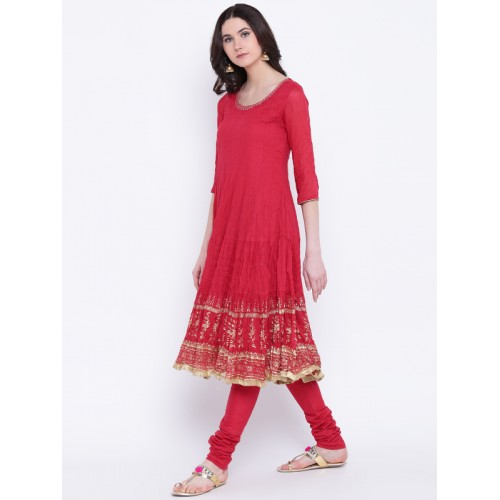 Biba Women Red Printed Kurta with Churidar & Dupatta