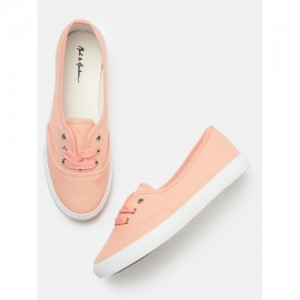Mast & Harbour Women Peach-Coloured Sneakers