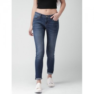 Mast & Harbour Women Blue Skinny Fit Mid-Rise Low Distress Stretchable Jeans