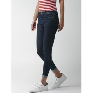 Mast & Harbour Women Blue Slim Fit Mid-Rise Clean Look Stretchable Jeans