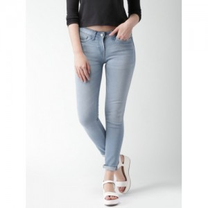 Mast & Harbour Women Blue Skinny Fit Mid Rise Clean Look Jeans