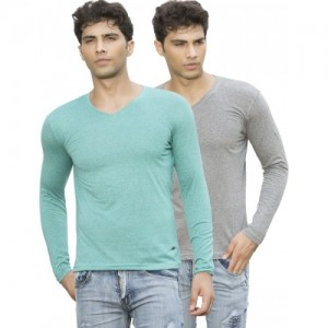 Maniac Cotton Solid Men's V-neck T-Shirt- Pack of 2