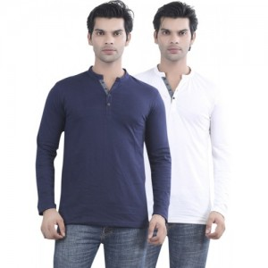 Maniac Cotton Solid Men's Henley T-Shirt- Pack of 2