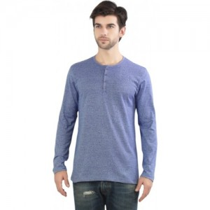 Maniac Blue Polyester Cotton Solid Men's Henley T-Shirt