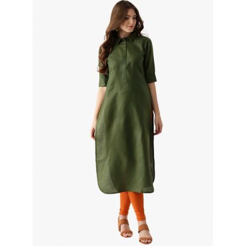 Libas Green Cotton Solid Women's Pathani Kurta