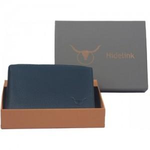 Hidelink Men Blue Genuine Leather Wallet