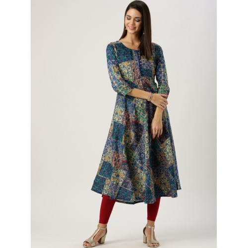 Libas Multicolor Cotton Abstract Women's A-line Kurta