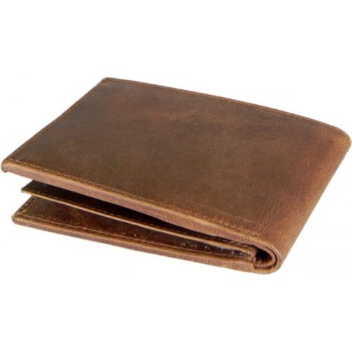 Hidelink Men Formal Brown Genuine Leather Wallet