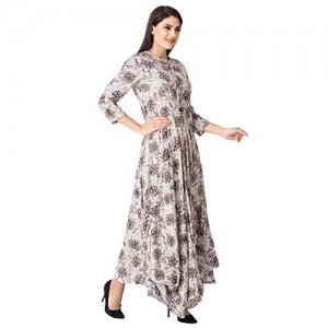 Khushal Beige Rayon Printed Designer Dhoti Style Kurta