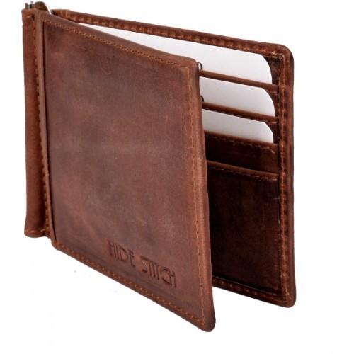 Hidestitch Men Brown Genuine Leather Money Clip