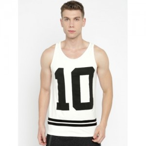 SayItLoud Men White & Black Cotton Printed Vest