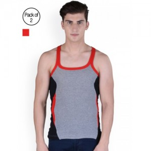 Force Go Wear multi Color Cotton Slim Fit Vest-Pack Of 2