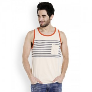 CULT FICTION  Beige Striped Round Neck T-shirt