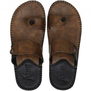 Kraasa Brown Synthetic Leather Slip-on Chappals