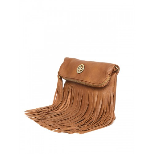Lisa Haydon for Lino Perros Brown Fringed Foldover Sling Bag