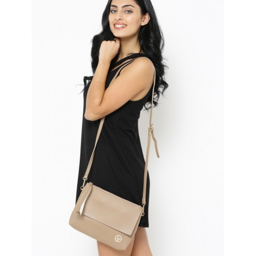 Lisa Haydon for Lino Perros Beige Solid Sling Bag