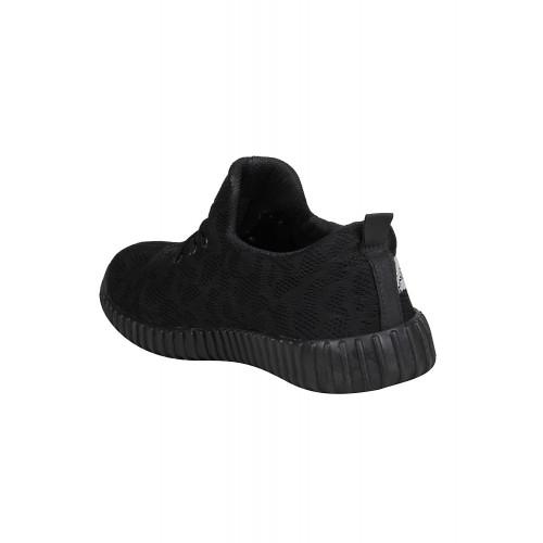 KOXKO Black Mesh lace up Sport Shoes