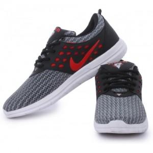 FIARA MAX STAR Gray & Red Mesh Running Shoes For Men