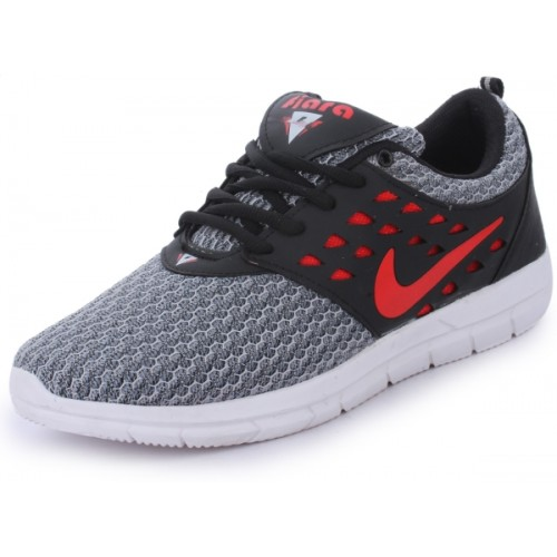 FIARA MAX STAR Gray & Red Mesh Running Shoes For Men