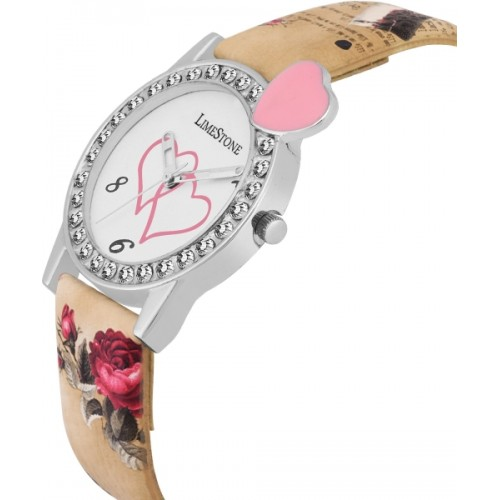 LimeStone Designer Strap White Dial Analog Watch For Women