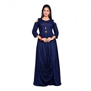 Payal Blue Rayon Solid Cold Shoulder Gown