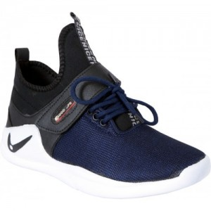 Shoebook Navy Blue Synthetic Leather Sneakers