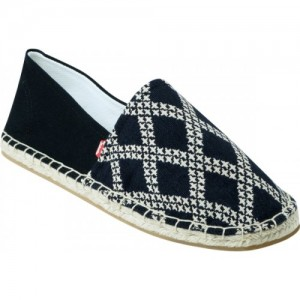Zobello Navy Blue Men's Diagonal Check Print Espadrilles