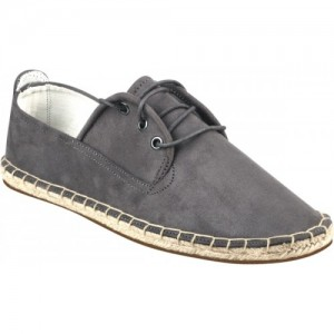 Zobello Men's Metro Grey Suede Lace Up Espadrilles For Men