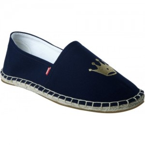 Zobello Navy Blue Canvas Crown Tag Espadrilles For Men