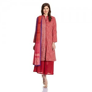 BIBA Red Modal Striped Straight Salwar Suit