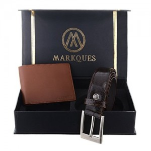 MarkQues Men's Tan And Brown Leather Wallet & Belt Combo (AUR-2204 CL-02)