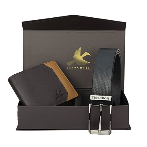 Hornbull Black Bi-Fold Leather Wallet and Belt Combo