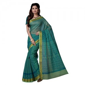 Rani Saahiba Poly Cotton Printed Zari Border Saree